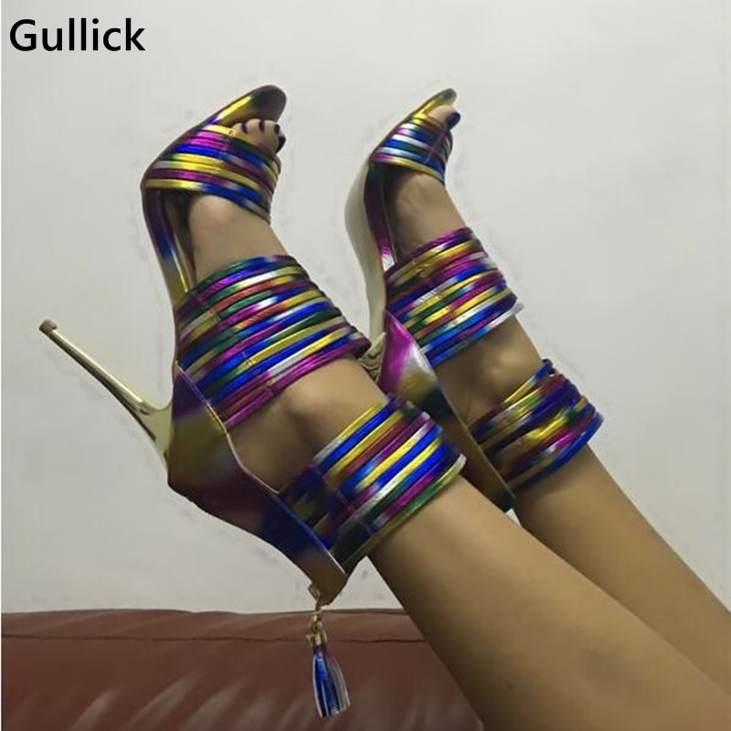 цены Real Photo Colorful Strappy Covered Heel Women Rainbow Leather Sandals High Heel Peep Toe Cross Strap Sandals For Woman