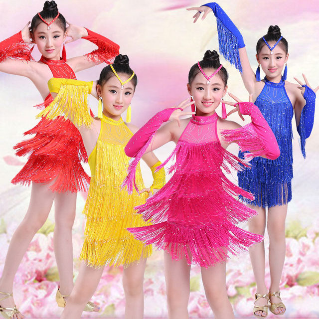 9a28a651002ad New Fringe Latin Dance Dress For Sale Child Kid Girl Junior Salsa Bachata Latin  Dance Costume Ballroom Dance Competition Dress
