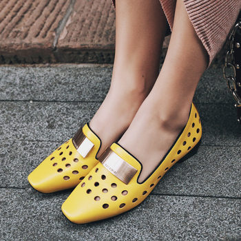 MNIXUAN women flats shoes loafers 2018 new genuine leather casual hollow oxfords square toe solid ladies flats big size 34-42