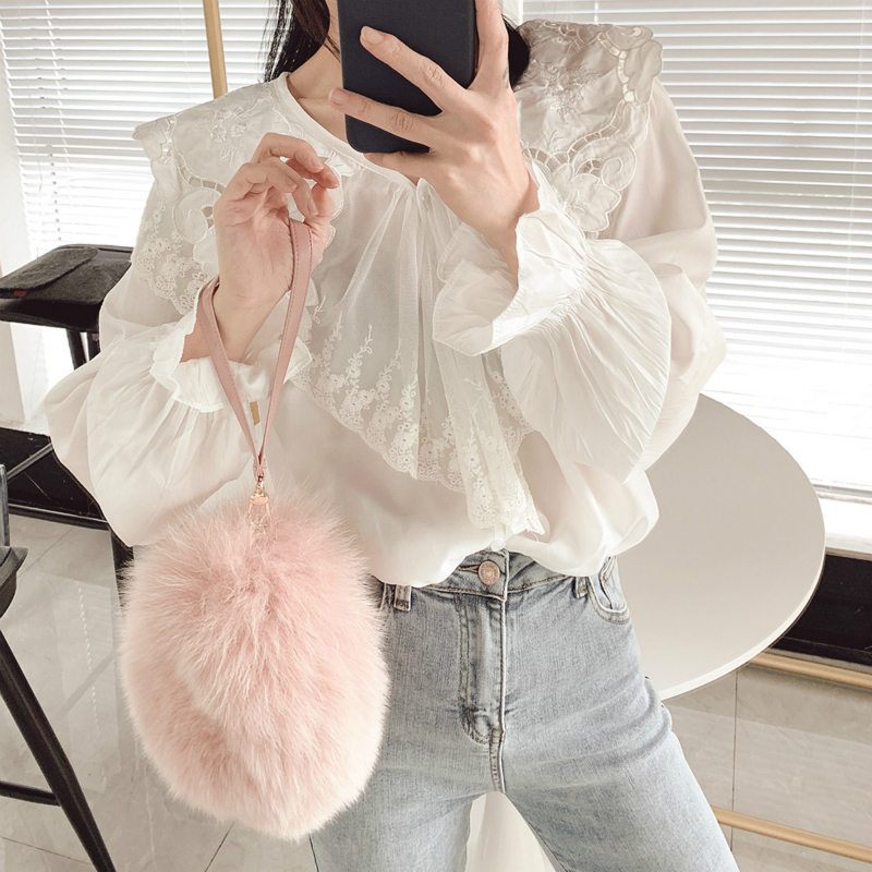 Coréen grande taille 2019 automne coton blanc mélangé hauts Blouses femmes mode dentelle couture volants à manches longues lâche chemise
