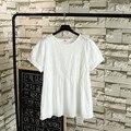 Ocasional Patchwork Bordado Chiffon Camisa Blusa Plus Size 3XL 4XL Summe Estilo das Mulheres Manga Curta Blusas TY004
