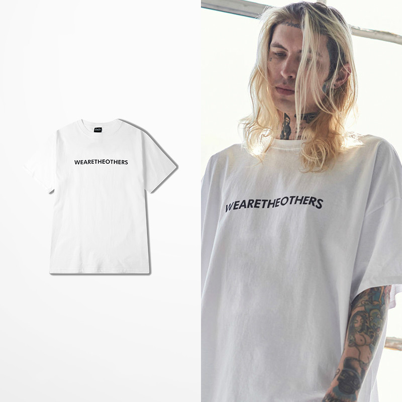 We Are The Others Letter Print Tee Shirt Homme Harajuku Fashion White Quality Cotton T-shirt Men Hip Hop Retro Funny T Shirts