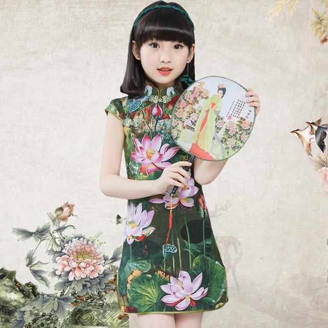 Kinder mädchen chinesischen cheongsam baumwolle leinen sommer ...