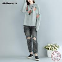 Harajuku 2017 Pullover Women Sweaters Winter Coats Korean Retro Roses Embroidery Vintage Knitted Oversized Sweater Women