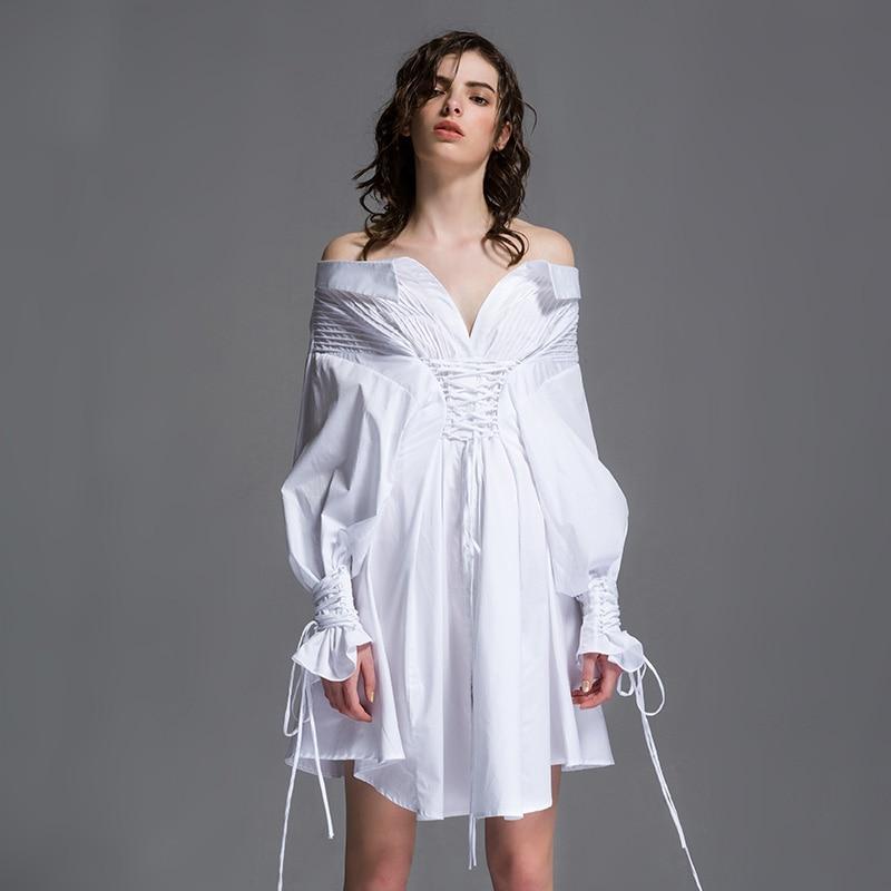 Оригинальный Дизайн Для женщин сезон: весна–лето Новинка Личность Тонкий поясом повязки королевские рукавом 100% хлопок белый платье рубашк