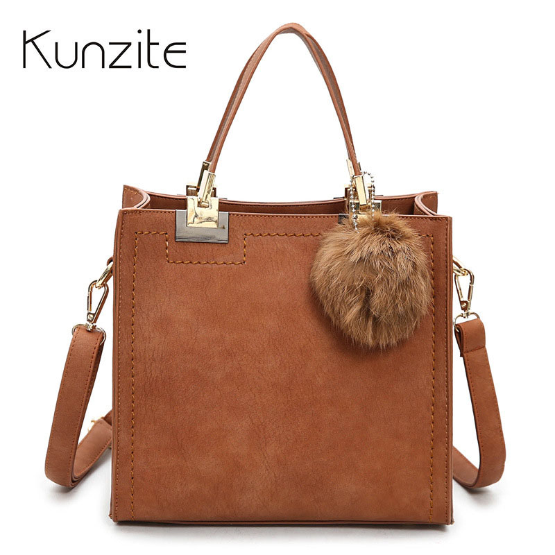 Designer Handbags High Quality Women Casual Tote Bag Female Large Shoulder Messenger Bags PU leather Handbag With Fur Ball Sac women messenger bags designer handbags high quality 2017 new belt portable handbag retro wild shoulder diagonal package bolsa