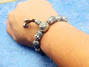 Image 3 - 100% 999 Zilveren Sakyamuni Boeddha Standbeeld Kralen Armband Tibetaanse Boeddha Hoofd Kralen Armband Pols Mala Armband