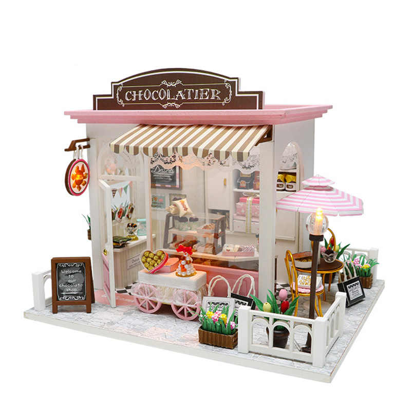 DIY Miniature Doll House Assemble Kits Toy Handmade Wood Doll Houses With Furnitures LED Chocolate Food Store Dollhouse Toys