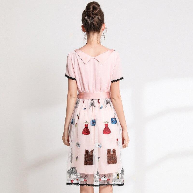 Double Rose Cravate Col Taille À Layered Broderie Maille Pour L 4xl Robe Robes Plus Femmes 5xl Avec Vêtements n0mv8wN