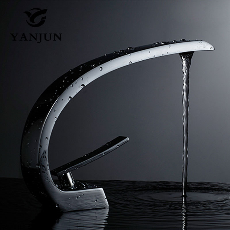 Yanjun Countertop Swivel Spout Brass White Painting Bathroom Faucet Vanity Vessel Sinks Mixer Cold And Hot Water Tap led spout swivel spout kitchen faucet vessel sink mixer tap chrome finish solid brass free shipping hot sale
