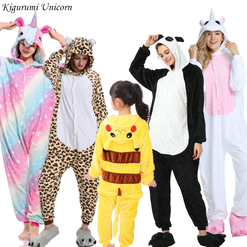 Kigurumi Unicorn Pajamas For Boys Girls Women Men  Pajamas Sets Onesie Adults Animal Panda Stitch Sleepwear Cosplay Pyjamas Kids