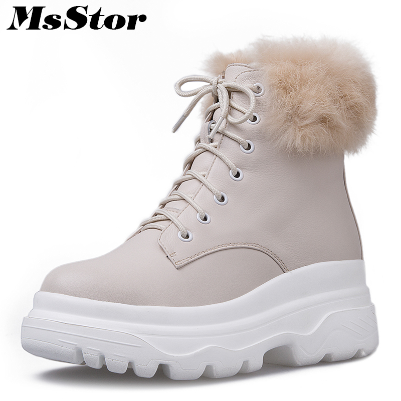 MsStor Round Toe Thick Bottom Women Boots Fashion Wool Blend Ankle Boots Women Winter Shoes Lace Up Wool Keep Warm Boot For Girl msstor women boots round toe wedges ankle boots women winter shoes thick bottom lace up short plush black boot shoes for woman