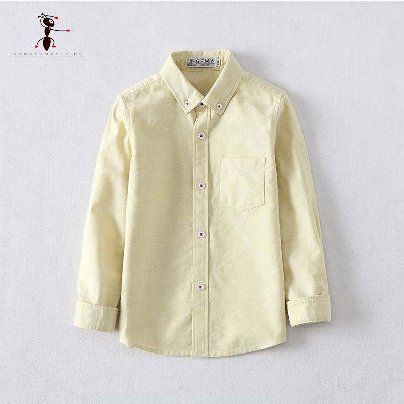 GFMY 2018 New Yellow Gray Two Color Solid color boy shirt Lapel High Quality Children's Full Sleeve Cotton School Shirt 201701 karen scott 6198 new womens yellow cotton solid pullover top shirt plus 1x bhfo