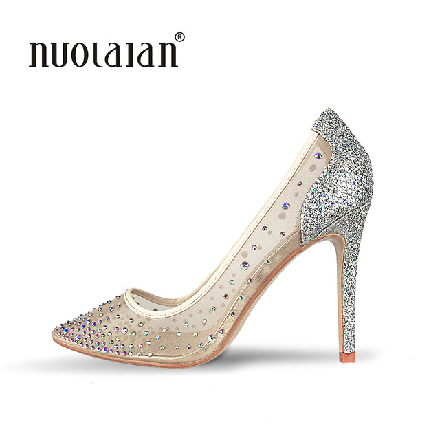 Top Quality High Heels Shoes 2018 Women Pumps Sexy Pointed Toe Rhinestones Party Wedding Women Shoes