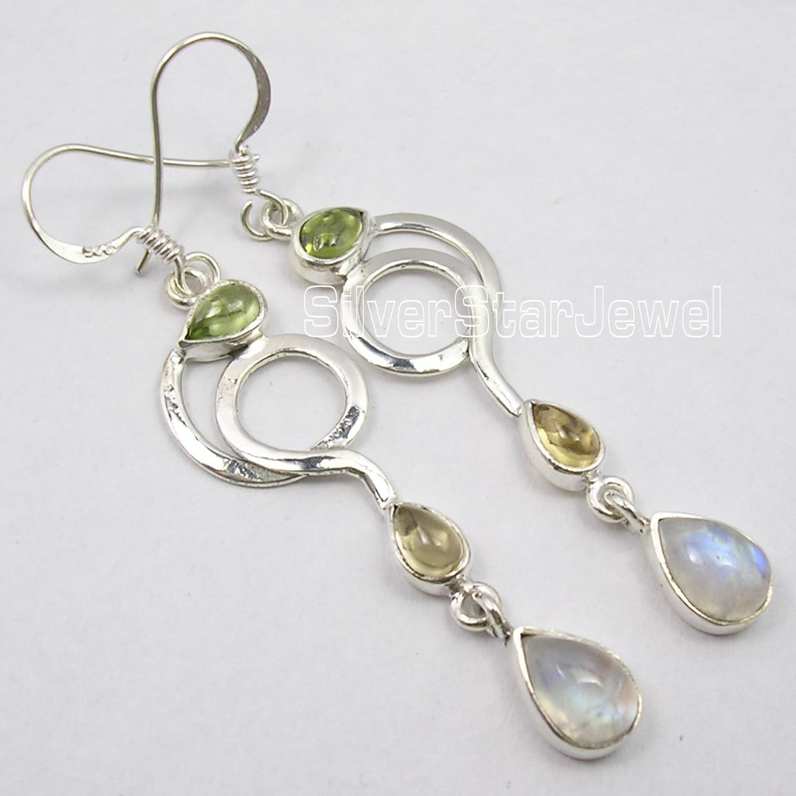 Chanti International Silver MULTICOLOR MULTI GemS LADIES Dangle LONG Earrings 6 CM