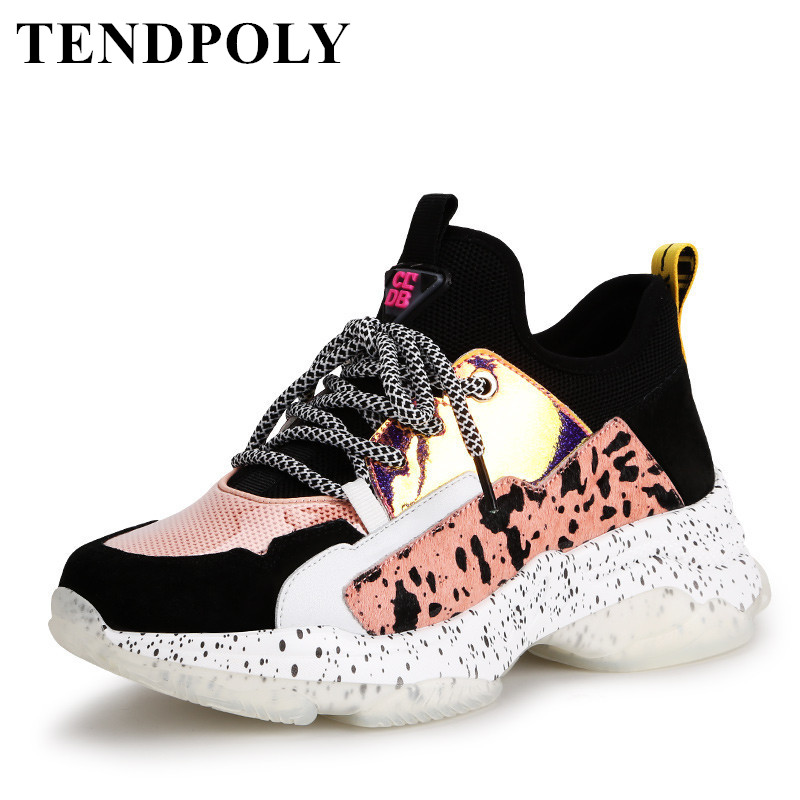 New Women Casual Shoes Luxury Sports Lacing Female Shoes 2019 Fashion White Sneakers Women Shoes Mixed Colors Comfortable Soft