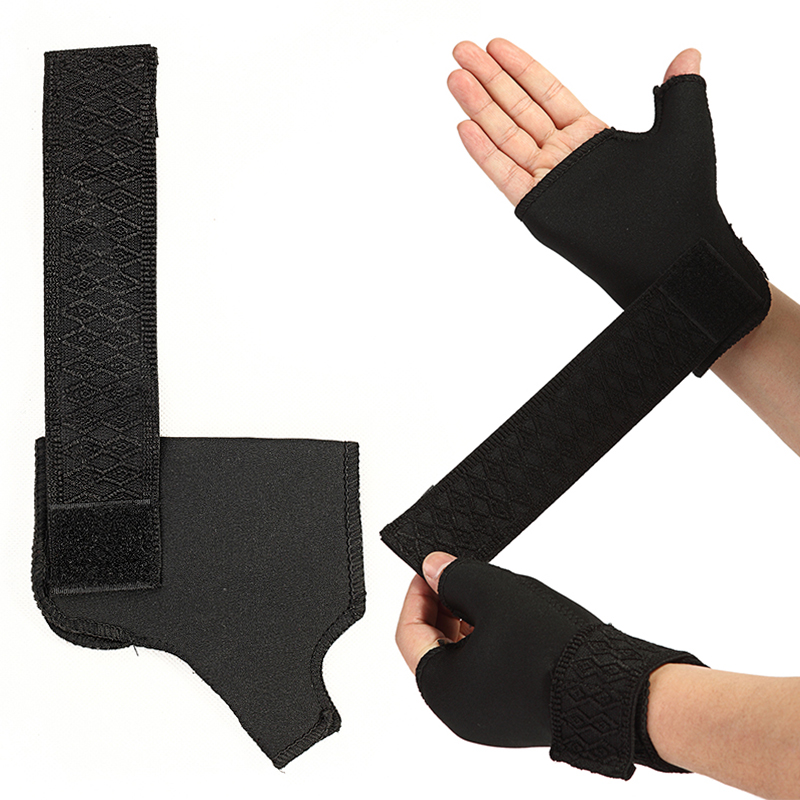 1 Pair Soft Breathable Adjustable Half Finger Glove Support Protector Sport Universal Wrist Palm Thumb Brace Guard Wrap
