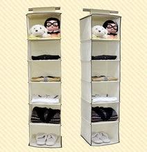 Simple Beige Color Non Woven Hanging Closet Shelf Organizer Shoe Storage  Bag Case Wardrobe Storage