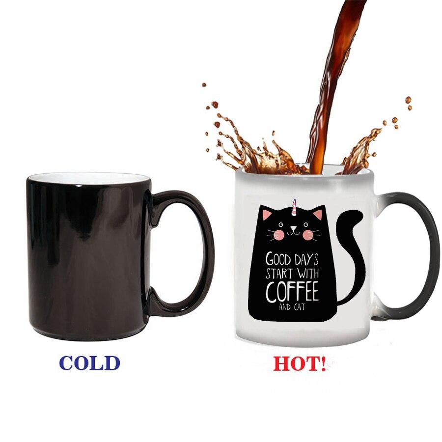 330ml Nette Katze Magie Becher Temperatur Farbwechsel Chamäleon Tassen Wärme Empfindliche Tasse Kaffee Tee Milch Becher Neuheit Geschenke