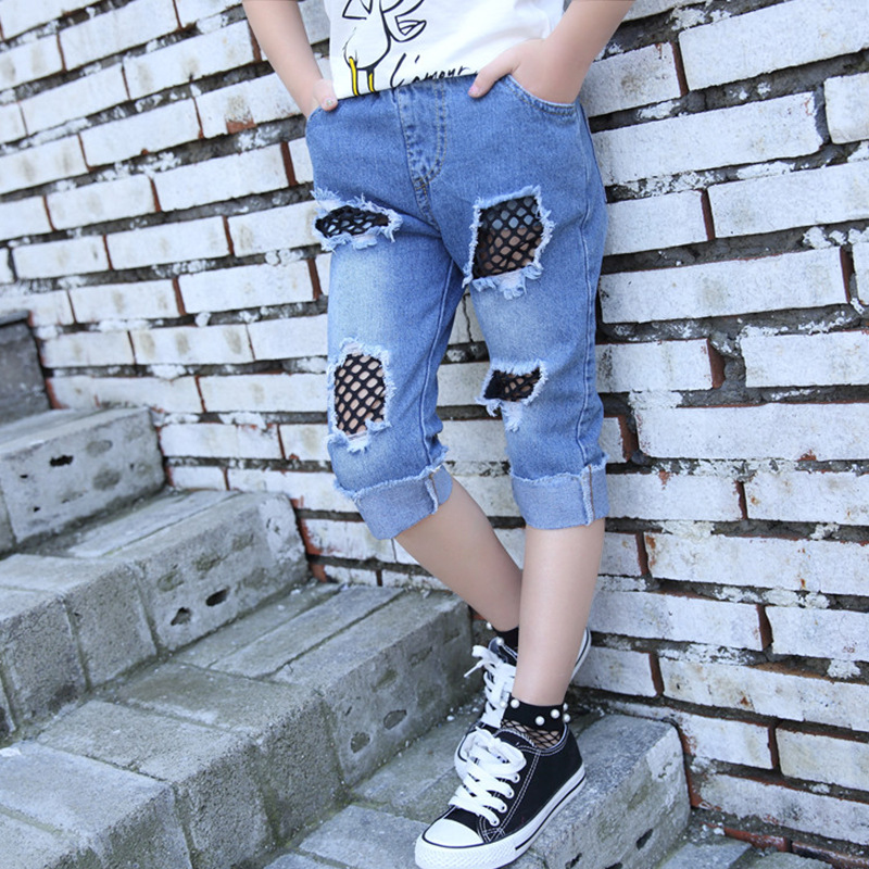 4-16 year girl Summer hole jeans children fashion   pants   casual ripped denim   pants   mesh patchwork   pant     capris   Kids Clothes