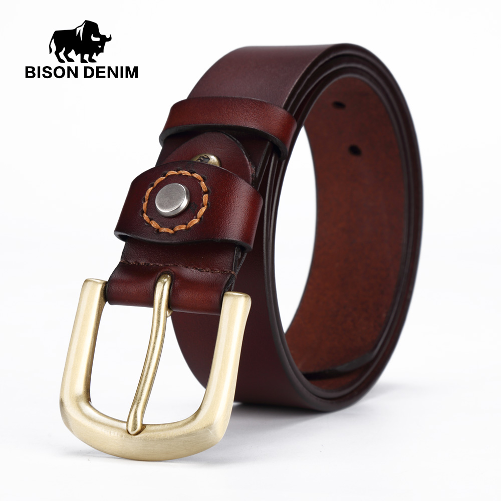 BISON DENIM Men belt Genuine Leather Men s Belts Pin Buckle Jeans Male Belts W71020