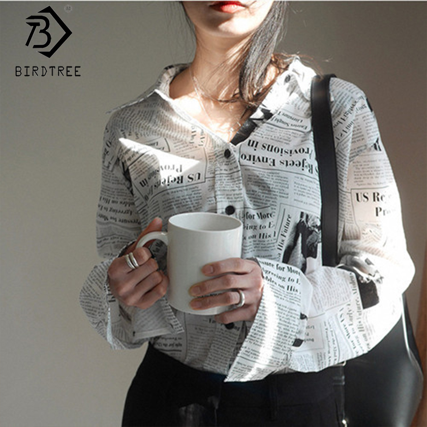 2019 Newspaper Print Shirt Turn-down Collar Casual Loose Office Lady Top Long Sleeve Fashion Cool Letter Femina Blusa T91012R