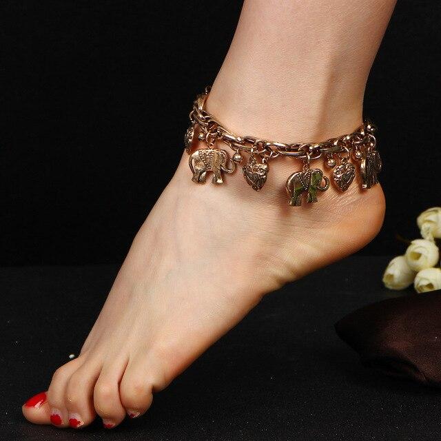 Elephant Anklets Heart Ankle Bracelet Flower Love Charm