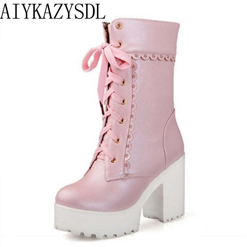Aiykazysdl Lolita Rosa Blanco Encaje alto talón estudiante Zapatos Cosplay plataforma chunky bloque media pantorrilla corta Botas mujeres más tamaño