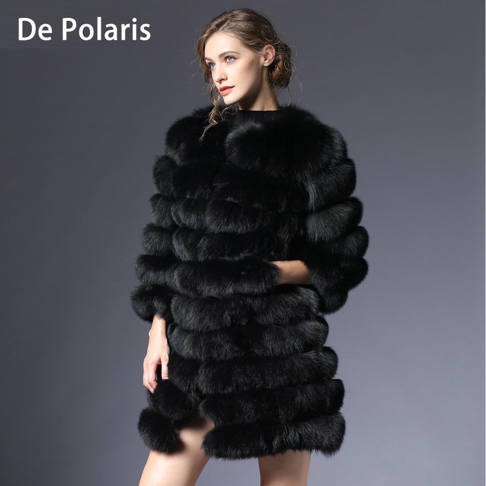 Women fur coat fox real natural Winter Genuine natural women Fox Fur coat with Fur vest