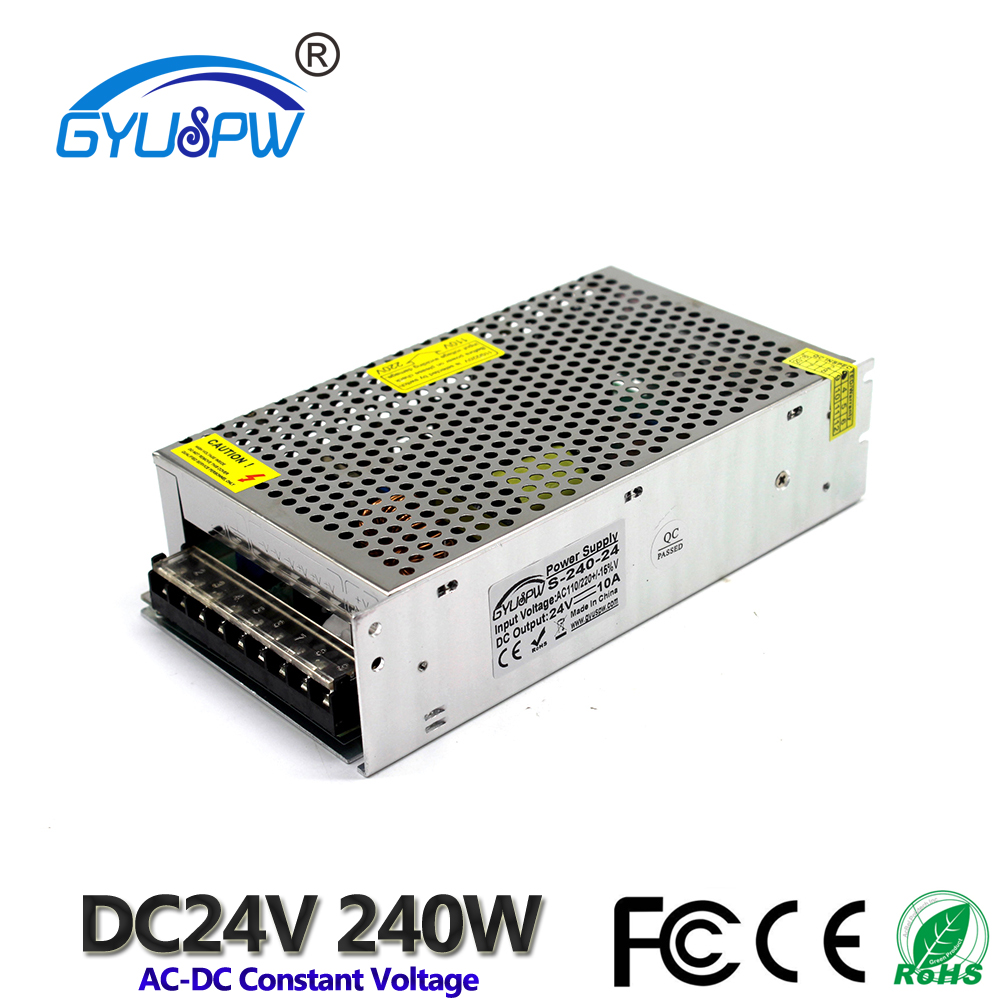US $21 92 15% OFF|Universal 24V 10A 240W Regulated Switching Power Supply  Transformer 110V 220V AC TO DC SMPS for LED Strip Light CNC CCTV-in
