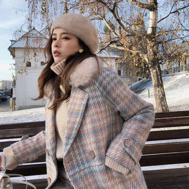 Mishow 2019 Women Coat outerwear winter clothing fashion warm woolen blends female elegant Double Breasted woolen coat MX18D9679 3