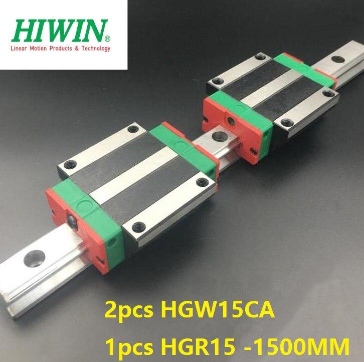 1pcs 100% original Hiwin linear rail guide HGR15 -L 1500mm + 2pcs HGW15CA/HGW15CC linear flange carriage block for cnc цена