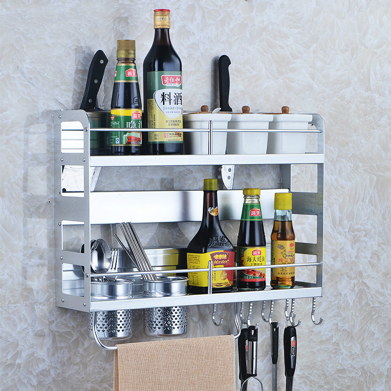 Space aluminium kitchen double-layer rack storage rack pendant seasoning rack wall hanging LU50711 a1 hotel bathroom washbasin wall hanging solid thickening rack space aluminum wall hanging storage rack wx7201648