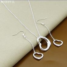 цена 925 Sterling Silver Simple Heart Necklace Earrings For Women High Quality Silver Necklace Earrings Set онлайн в 2017 году