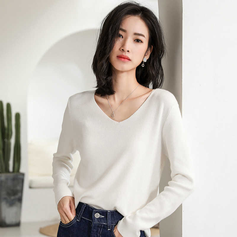 Women Sweaters Hot Sale Cashmere and Wool Knitted Jumpers Ladies Vneck 6Colors Standard Clothes High Quality Woolen Female Tops