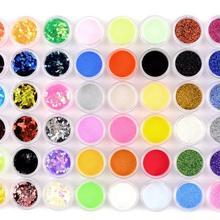 Wholesale 48 Colors Nail Art Glitter  Acrylic Powder Dust for UV GEL Decoration Set Tips Colorful nail acrylic powder (48pots)