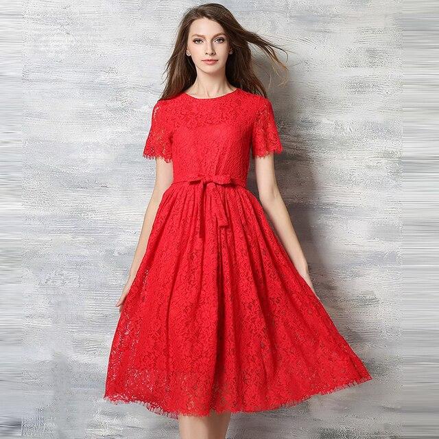 Wanita Seksi Gaun Pesta Hitam Warna Merah Tinggi Pinggang Bordir