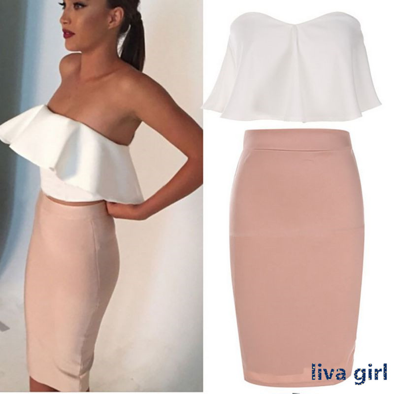 Women Summer Dress Fashion Lady Sexy Strapless Backless Ruffle Off Shoulder Sleeveless Bodycon Dress Best