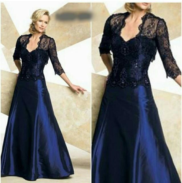Freeshipping azul Royal mãe do vestido da noiva com jaqueta de renda
