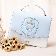 Bolsas Femininas 2017 New Bag Blue Embroidery Flap Satchel Bag Korean small bag leisure Chain Shoulder Bags Cover Princess Lady