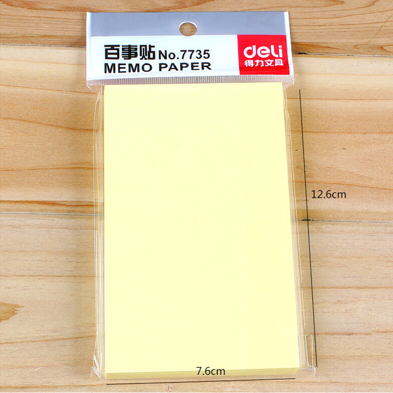 1 Pack 100 Sheets Yellow Color Sticker Paper Note Basic Type Memo Pads Self-Adhesive 76x126mm 3x5 Post It Deli 7735