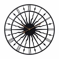 New 50CM Classical 20 Inch Creative Retro Round Wall Clock Household Wavy Pattern Iron Hanging Clock Wall Home Office Decor Sale