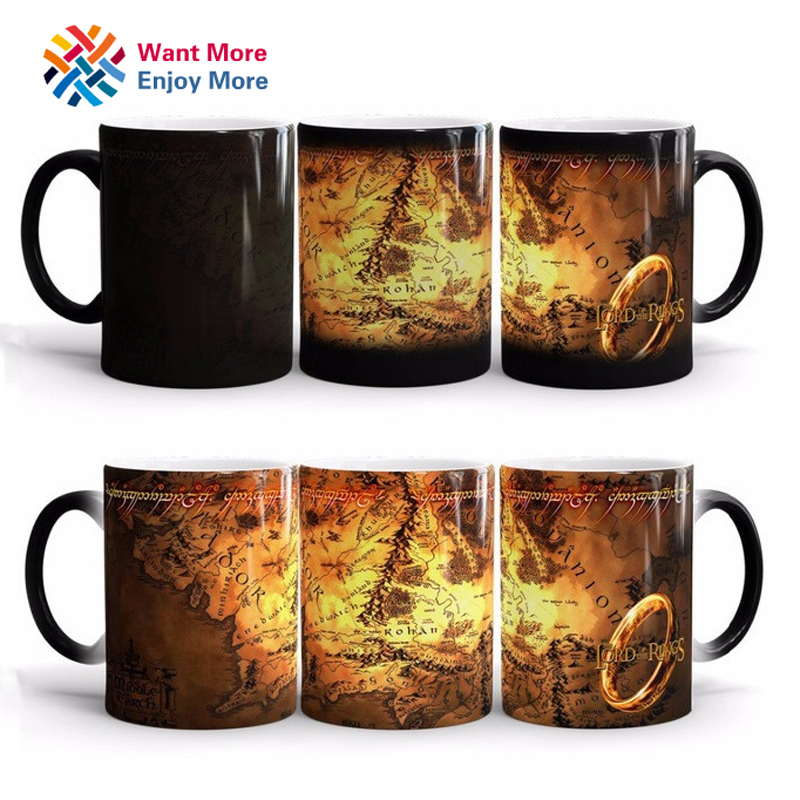 Discoloration Cup Ring King Mugs The Lord of The Rings Fans Gifts Middle Earth Ceramic Milk