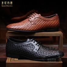 Leinwandbindung Italien Herren Schuhe Casual Originalität Berühmte Persönlichkeit Herren Kleid Schuhe 2016 Vollnarbenleder