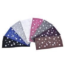 Summer White Pearls Headband for Women Fashion DIY Cotton Head Bands with Applique Ladies Hair Bandage