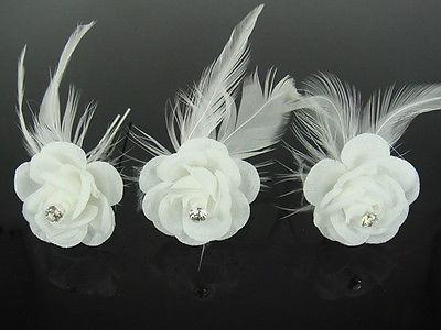 12 шт. свадебные белый Перо Цветочный Кристалл Шпильки аксессуар для волос H82
