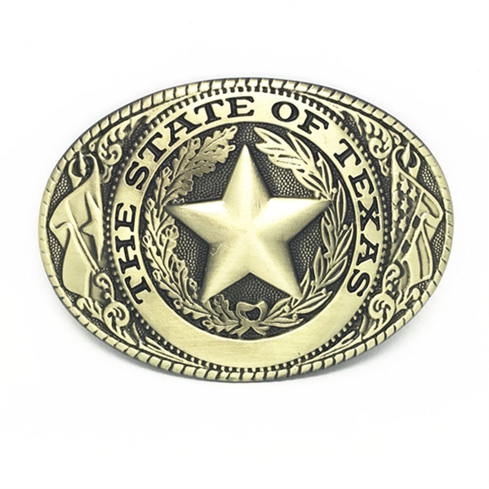 THE STATE OF TEXAS  Western Cowboy Belt Buckles The Texas Five-pointed Star Retro Bronze Color For 3.8 Straps