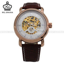 ORKINA Rose Gold Case Big Dial Leather Strap Automatic Mens Watches Heren Horloge Male Clock Watch