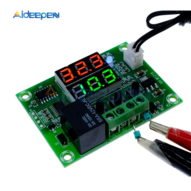 DC 12V W1219 Dual LED Digital Display Thermostat Thermometer Temperature Controller Regulator Switch Relay NTC Sensor Module