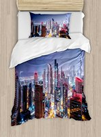 City Duvet Cover Set Nighttime At Dubai Vivid Display United Arab Emirates Tourist Attraction Travel Theme